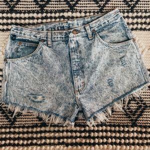 Wrangler High Rise Distressed Jean Shorts